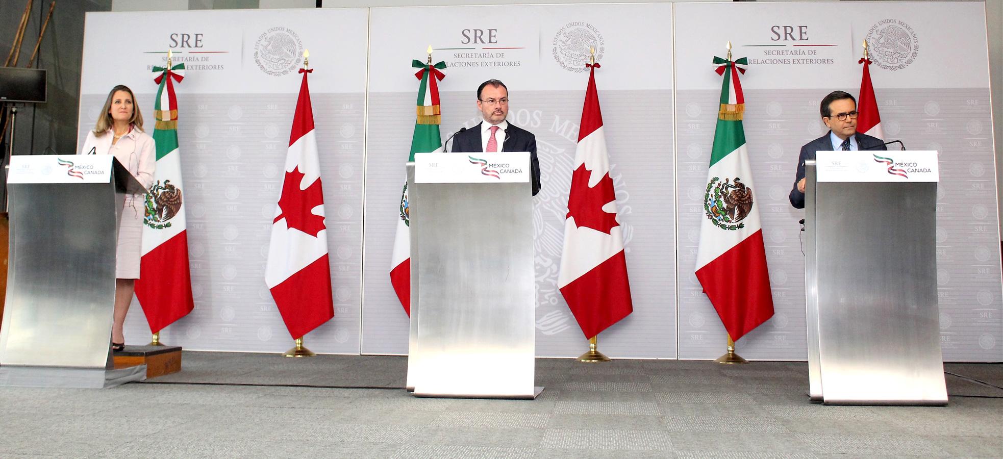 Mensaje a Medios del Secretario Ildefonso Guajardo, el Canciller Luis Videgaray y la Ministra Chrystia Freeland
