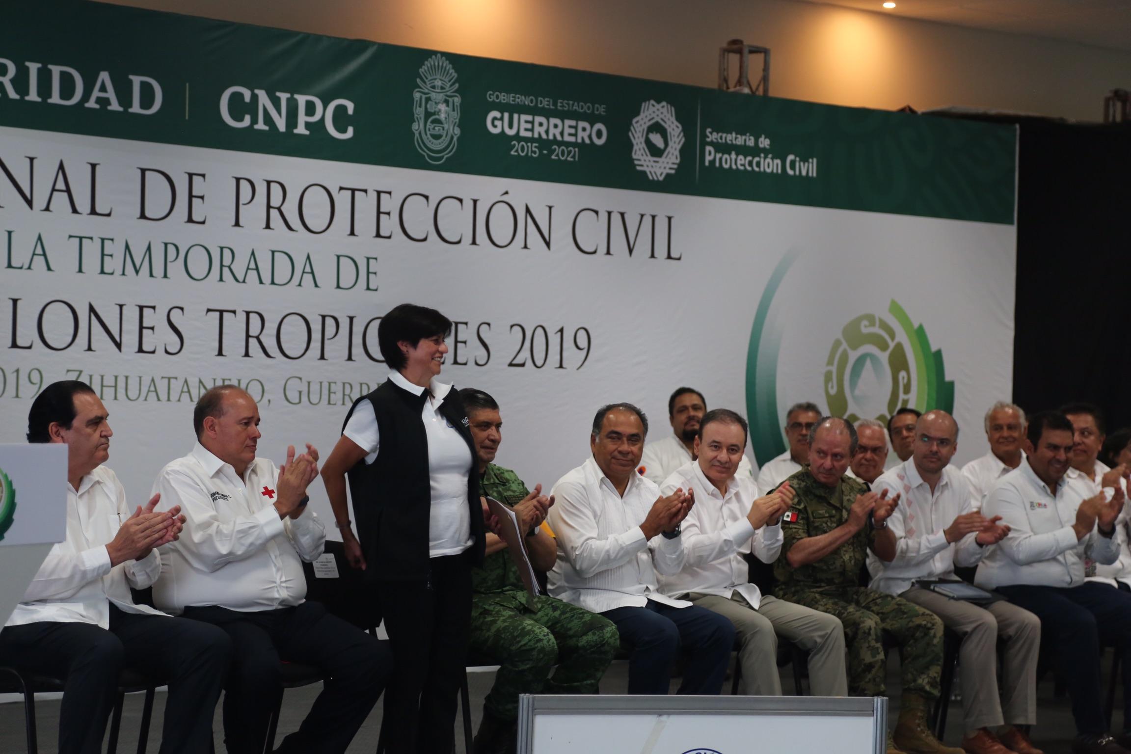 La Directora General de la Conagua, Blanca Jiménez Cisneros, presentó el pronóstico de ciclones tropicales para la temporada 2019, durante la Reunión Nacional de Protección Civil.