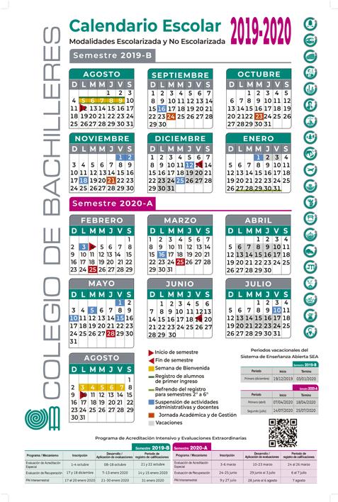 Calendario Escolar 2020 Aragon.Calendario Escolar Colegio De Bachilleres Gobierno Gob Mx