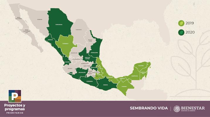 Mapa de estados beneficiados