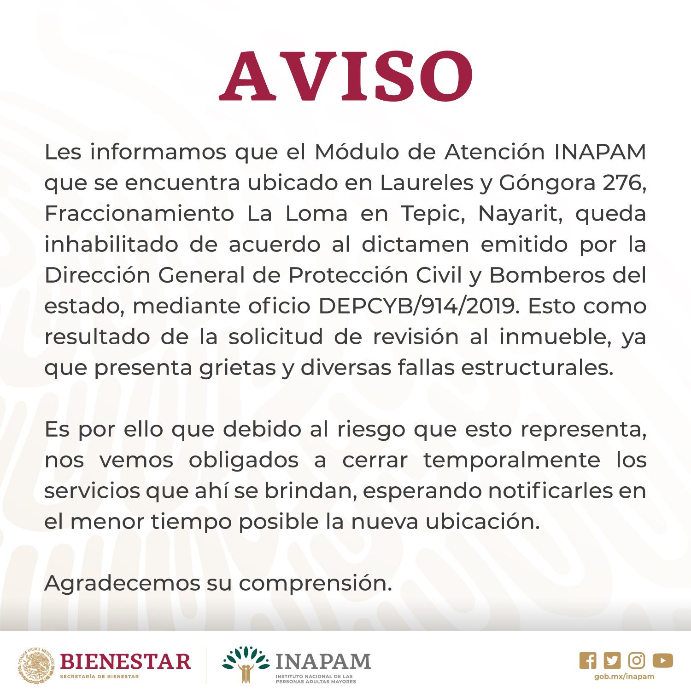 Nayarit Módulos Inapam Instituto Nacional De Las