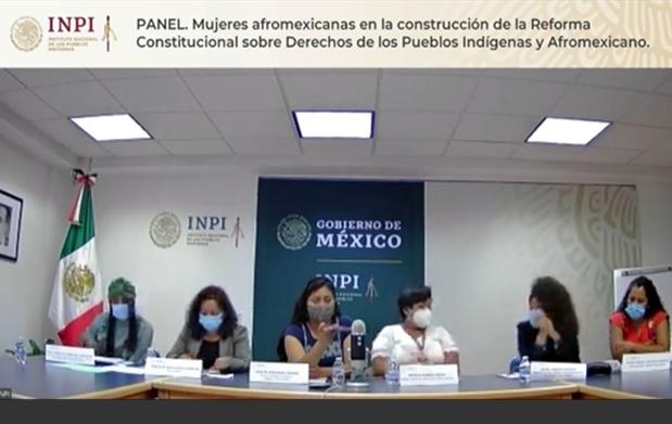 """panel """"Mujeres Afromexicanas en la Construcción de la Reforma Constitucional sobre los Derechos de los Pueblos Indígenas y Afromexicano""""."""