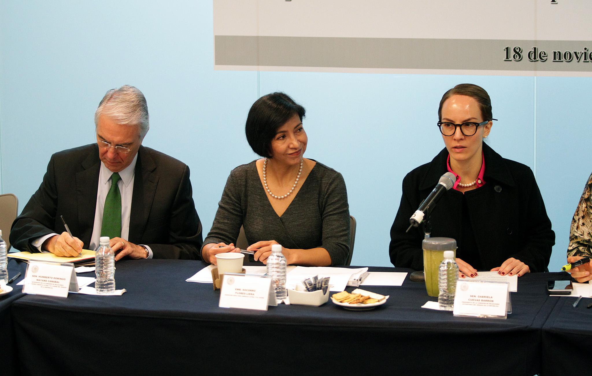 FOTO 2 Subsecretaria para Am rica Latina y el Caribe  Embajadora Socorro Flores Liera  compareci  ante las Comisiones Unidas de Relaciones Exteriores del Senadojpg