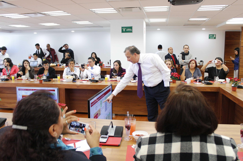 FOTO 1 Encuentro que sostuvo el secretario Meade con reporteros que cubren las actividades de la dependencia.jpg