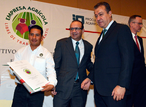 Entrega distintivo empresa agricola libre trabajo infantil 1jpg