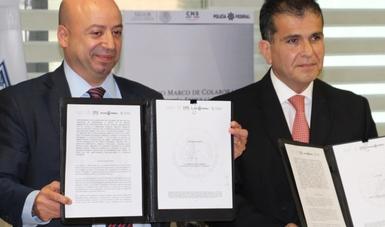 Los Titulares del SAE, la CNS y la Policía Federal formalizaron un convenio de colaboración.