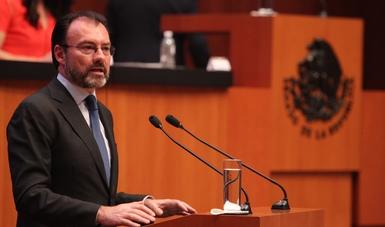 Secretario de Relaciones Exteriores, Dr. Luis Videgaray Caso, durante su mensaje ante el Senado de la República