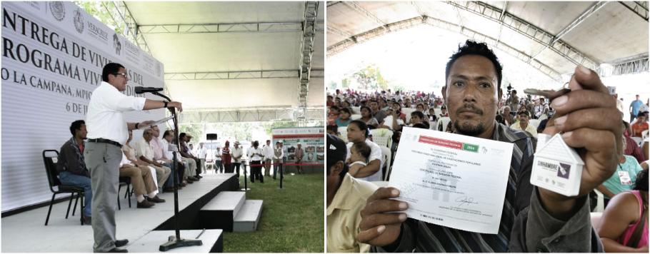 En la gráfica, el titular de FONHAPO, Ángel Islava, durante la entrega de viviendas a familias beneficiarias del municipio de Ignacio de la Llave, Veracruz. Un beneficiario muestra la llave de su nueva casa.