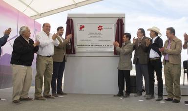"""El Primer Mandatario inauguró hoy el Parque """"Eólica de Coahuila"""", una inversión privada de la asociación entre las empresas Peñoles y Energías de Portugal Renovables."""