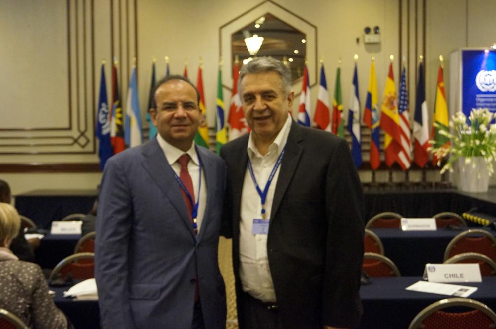 El Títular de la STPS, Alfonso Navarrete Prida, acompañado por el Ministro de Trabajo de Colombia, Luis Eduardo Garzón, en el marco de la 18 Reunión Regional Americana de la Organización Internacional del Trabajo (OIT), en Lima, Perú.
