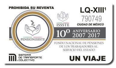 Boleto Conmemorativo del Décimo Aniversario de PENSIONISSSTE