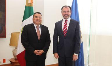 Revisan el Canciller Videgaray y el Secretario General Adjunto de la OEA preparativos para periodo ordinario de sesiones