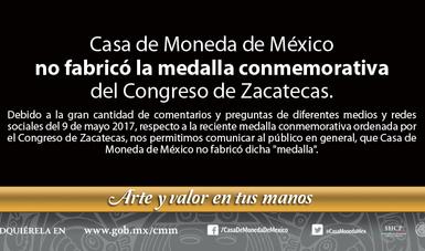 Comunicado de Casa de Moneda de México