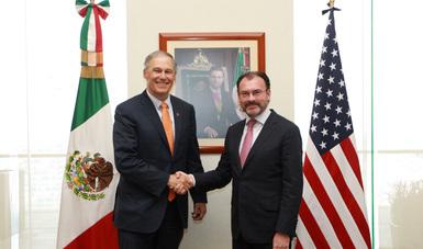 Acuerdan el Canciller Videgaray y el Gobernador de Washington fortalecimiento de cooperación.