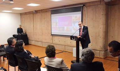 Subsecretario para América del Norte Carlos Manuel Sada Solana durante su presentación