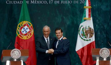 La historia tendrá la justicia de reconocer que las relaciones de México con Portugal y con la Unión Europea, han registrado en cuatro años un importante progreso gracias al Presidente Peña Nieto y su Administración: Presidente Marcelo Rebelo de Sousa.