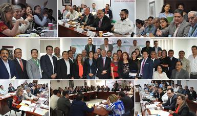 Collage de imágenes durante la Reunión Nacional de Delegados en la Ciudad de México.