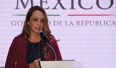 La Coordinadora Nacional de PROSPERA Paula Hernández Olmos, durante la conmemoración de los 25 años de la Sedesol