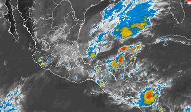 Esta noche se prevén tormentas intensas en Puebla, Veracruz, Tabasco, Oaxaca y Chiapas.