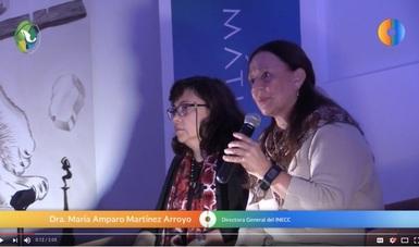 Dra. Amparo Martínez, directora general del INECC, y Dra. Margarita Caso, directora de Adaptación al Cambio Climático, en el Segundo Encuentro Nacional de Respuestas al Cambio Climático