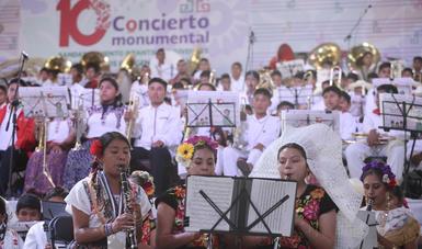 CDI realizó el Décimo Concierto Monumental de bandas infantiles y juveniles en Oaxaca.