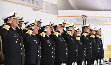 La Secretaría de Marina –Armada de México reconoce a Almirantes, por 40 años de Servicio en la Institución
