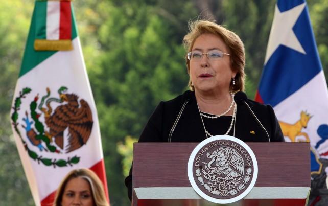 Michelle Bachelet Jeria, Presidenta de Chilem en ceremonia de Campo Marte.