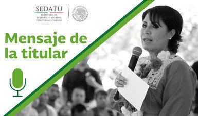 Mensajes de la Titular de la SEDATU, Rosario Robles, en la gira por el estado de Oaxaca donde inició la entrega de apoyos para la reconstrucción de viviendas afectadas por los sismos de septiembre de 2017, así como del espacio público Las Huertas.