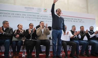 Srio. Eviel Pérez Magaña en evento durante su gira de trabajo en Zacatecas