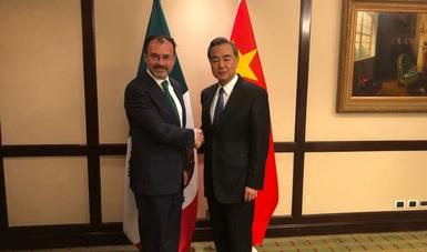 Canciller Luis Videgaray con su homólogo chino Wang Yi