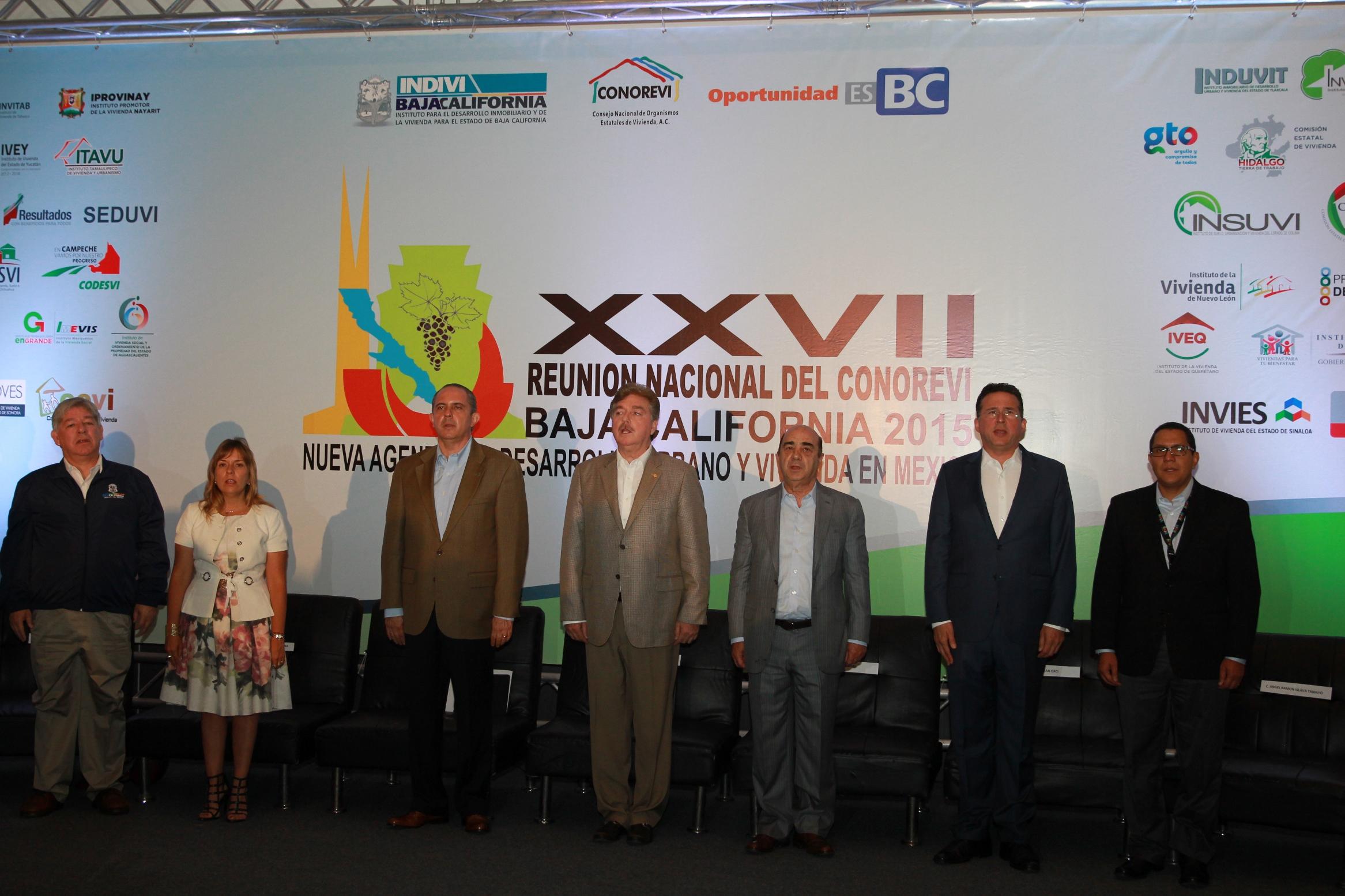 En la imagen, el secretario de Desarrollo Agrario, Territorial y Urbano, Jesús Murillo Karam, durante la inauguración de la XXVII Reunión del Consejo Nacional de Organismos Estatales de Vivienda (CONOREVI), en Tijuana, Baja California.