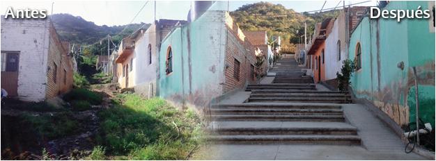 En la foto se observa el antes y el después de la intervención del programa Hábitat de la SEDATU, para la pavimentación de una calle y construcción de unas escaleras en Atotonilco el Alto, Jalisco.