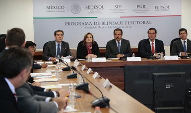 Srio. Eviel Pérez Magaña y autoridades de PGR, SFP, Sedesol y Fepade en la reunión de blindaje electoral