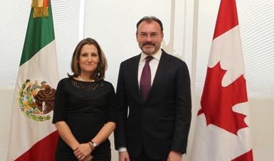 Acuerdan el Canciller Videgaray y la Ministra Freeland  seguir trabajando por el desarrollo regional