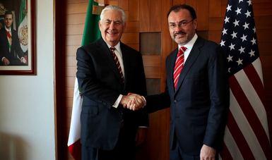 El Canciller Luis Videgaray recibió en la sede de la Secretaría de Relaciones Exteriores a su homólogo estadounidense, Rex Tillerson.