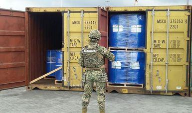 Aseguramiento de tres contenedores con casi 50 mil kilogramos de Cloruro de Bencilo, en Manzanillo, Colima