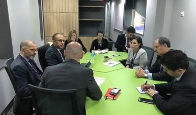 Asesora Senior de ONU-Hábitat, Patricia Holly; el Coordinador de ONU-Hábitat para México y Cuba, Pablo Vaggione; el director de Desarrollo Urbano y Territorial, Gestión del Riesgo de Desastres y Resiliencia en el Banco Mundial, Sameh Naguib Wahba