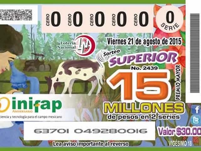 Billete de lotería conmemorativo del 30 aniversario del INIFAP