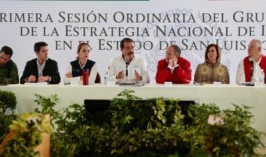 Eviel Pérez Magaña y autoridades en primera sesión ordinaria de la ENI