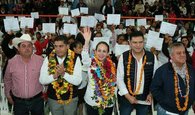 """En gira de trabajo por Hidalgo, la Coordinadora Nacional de PROSPERA, Paula Hernández Olmos, eN el evento """"Acciones por la Inclusión Social"""""""