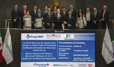 Banobras emitió, en agosto pasado, el primer Bono Sustentable por 10 mil millones de pesos y en su segunda emisión, en febrero de 2018, colocó con éxito un segundo Bono Sustentable uu(BANOB18X) por 2 mil 560 millones