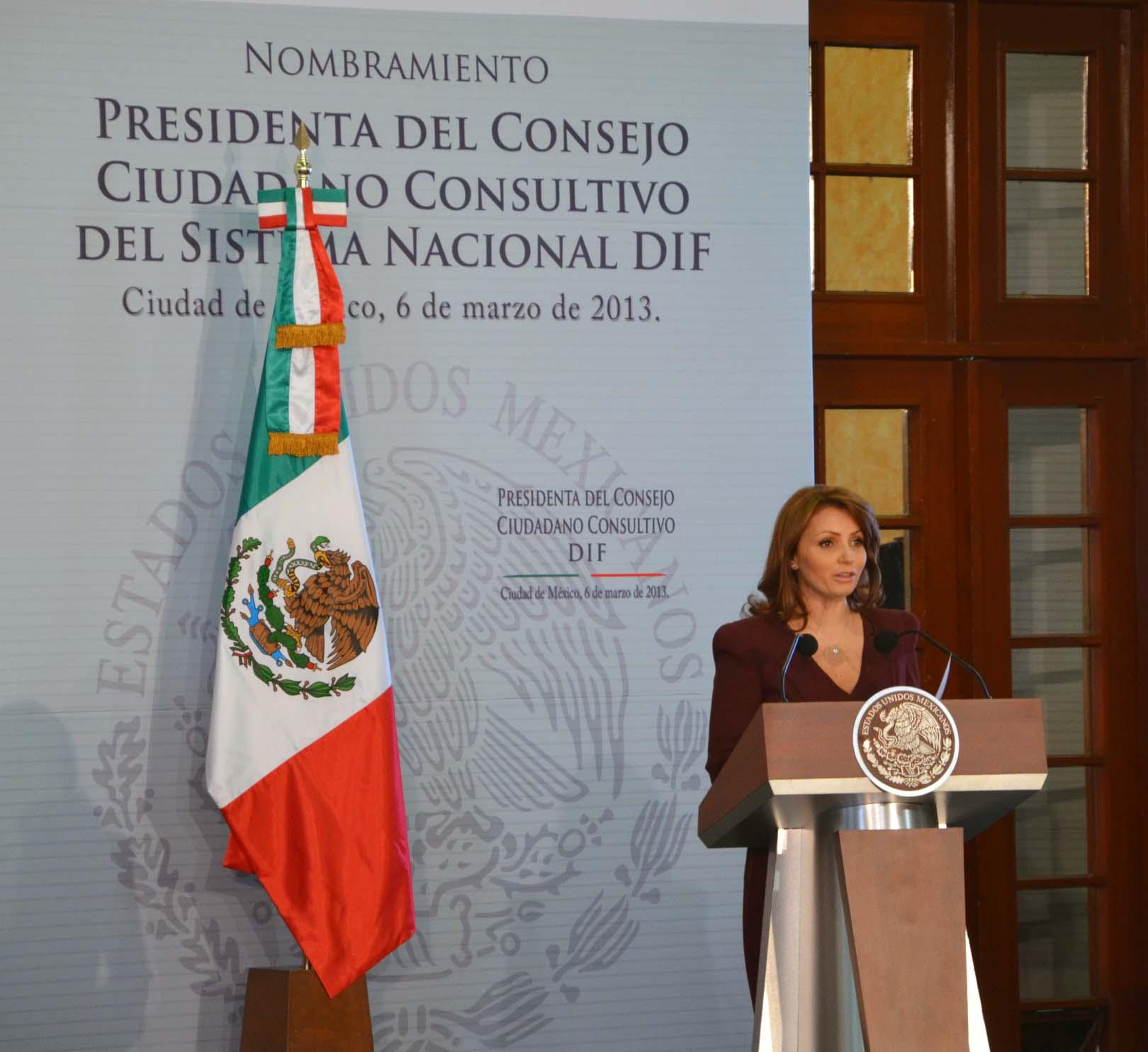 PALABRAS DE LA SECRETARIA DE SALUD, DOCTORA MERCEDES JUAN, DURANTE LA CEREMONIA DE NOMBRAMIENTO DE LA SEÑORA ANGÉLICA RIVERA DE PEÑA, COMO PRESIDENTA DEL CONSEJO CIUDADANO CONSULTIVO DEL SISTEMA NACIONAL PARA EL DESARROLLO INTEGRAL DE LA FAMILIA.