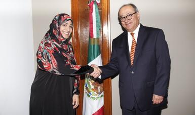Se reúne Granados Roldán con la Premio Nobel de la Paz Tawakkol Karman