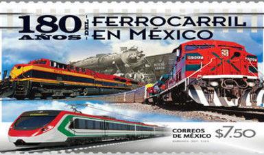 Estampilla Postal de los 180 Años del Ferrocarril en México