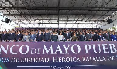 Con el gobernador del estado de Puebla y autoridades estatales y municipales, así como invitados especiales presenciaron el desfile cívico militar.