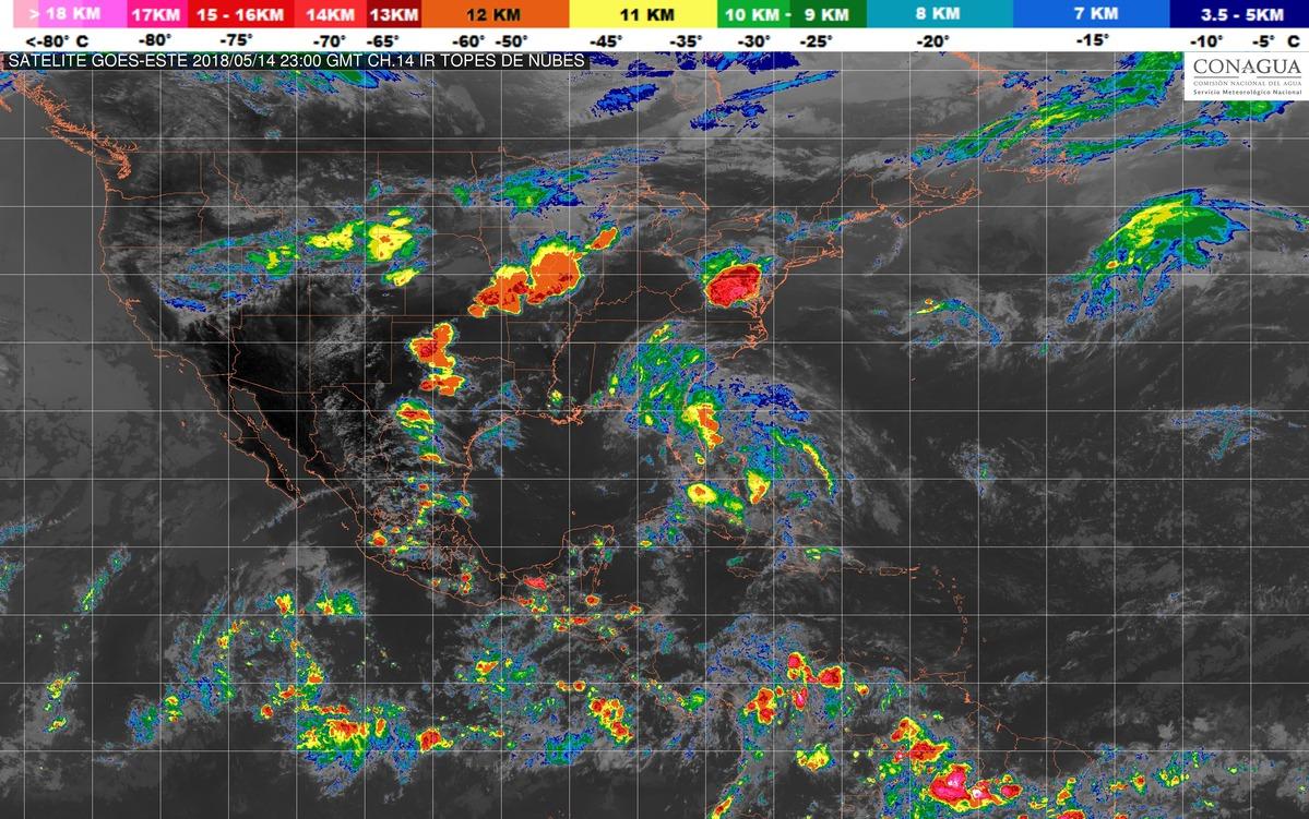 Se pronostican tormentas muy fuertes con actividad eléctrica y granizo hoy por la noche en zonas de Chiapas.