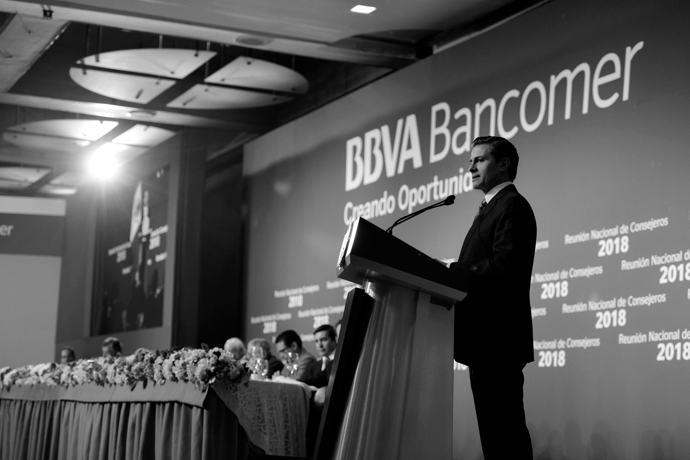 Presidente Enrique Peña Nieto durante la Reunión Nacional de Consejeros de BBVA Bancomer