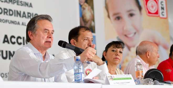 El Secretario de Energía, Pedro Joaquín Coldwell durante su participación en el Congreso Nacional Ordinario de la Confederación Nacional Campesina (CNC).