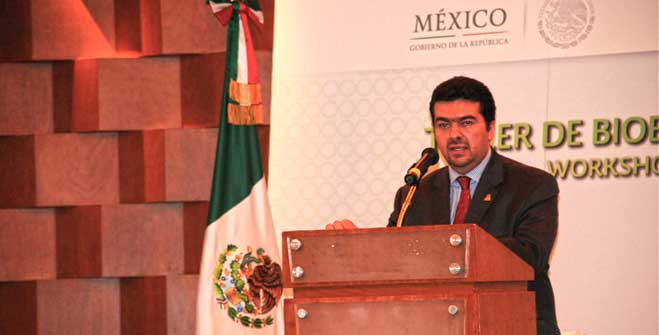 El Subsecretario de Planeación y Transición Energética, Leonardo Beltrán, durante su participación en el Taller de Bioenergía Sustentable.