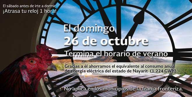 El domingo 26 de octubre concluye el Horario de Verano.